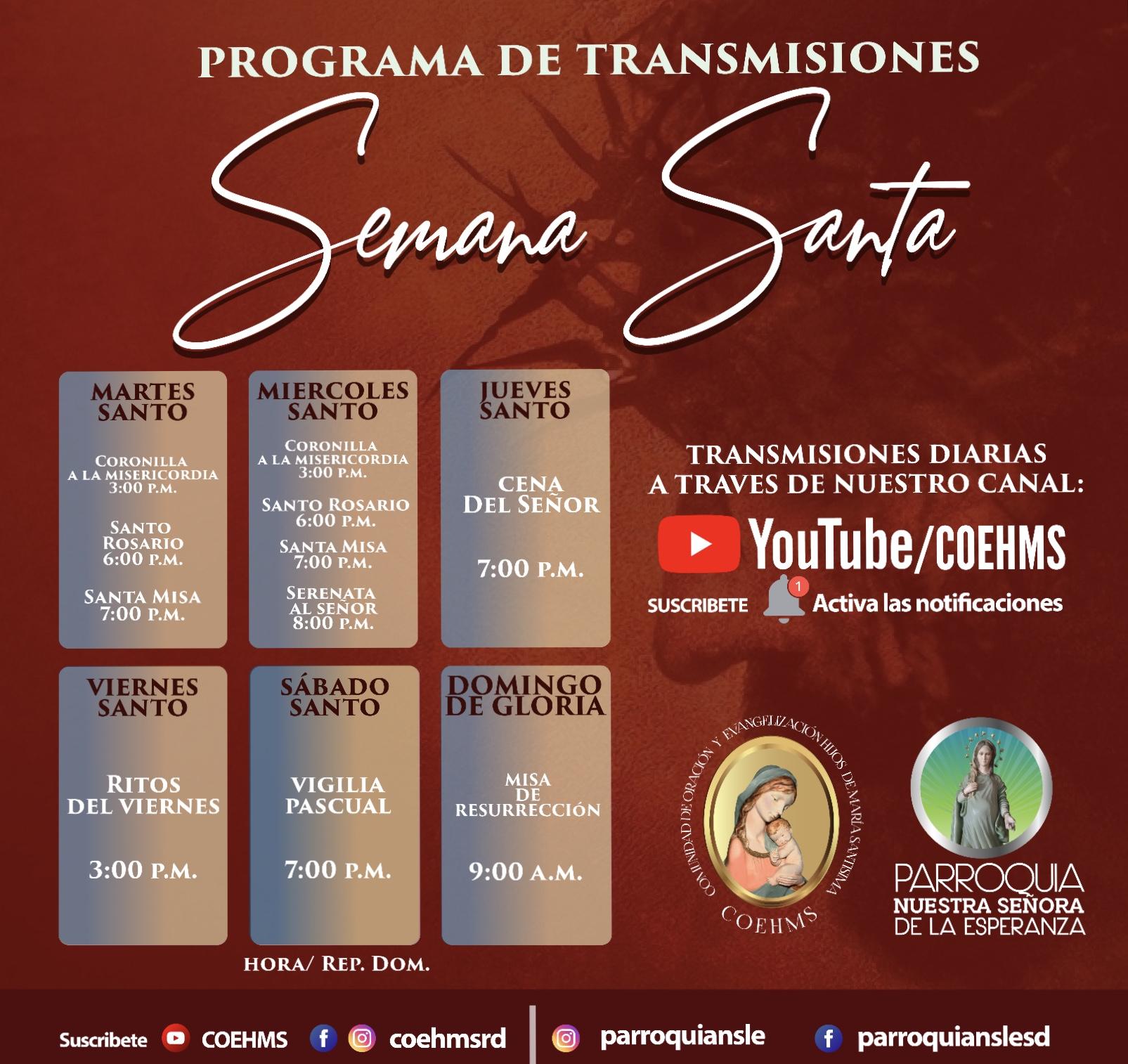 PROGRAMA DE TRANSMISIONES DE SEMANA SANTA